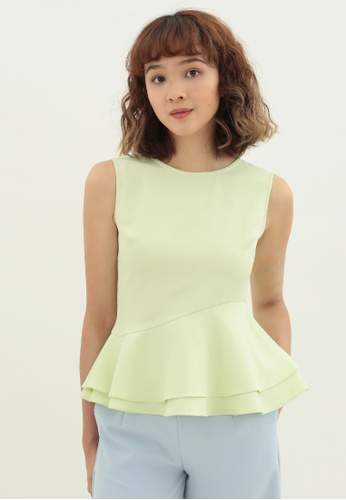 Love Knot green Thistle Ruffle Hem Sleeveless Top (Lime Green) D5EA7AA41BBB89GS_1