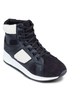Corduroy Panelled High Cut Sneakers