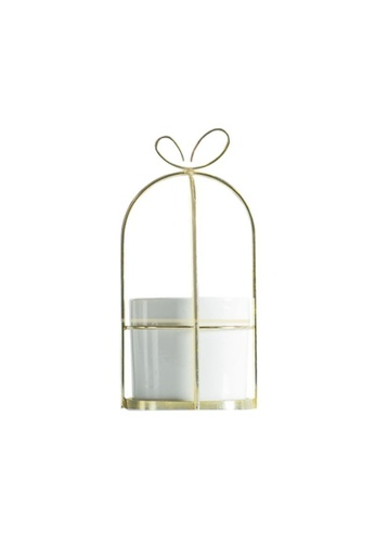 DILAS HOME white Ribbon Gift-shaped Gold Plant Pot (White) - Medium 5D1B3HL7B218B4GS_1