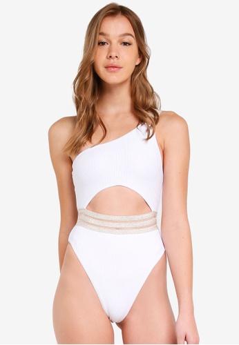 River Island white Rib One Shoulder Elastic Swimsuit 870B1US1026263GS_1