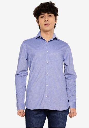 Jack & Jones green and blue Knit Oxford Long Sleeves Shirt 94C49AAA3733D3GS_1