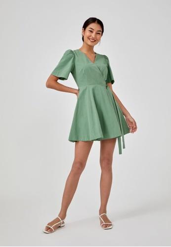 Love, Bonito green Malvina Textured Wrap Dress AC108AAADCF83DGS_1
