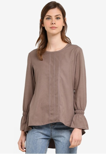Aqeela Muslimah Wear brown Flounce Sleeve Top AQ371AA0S4WIMY_1