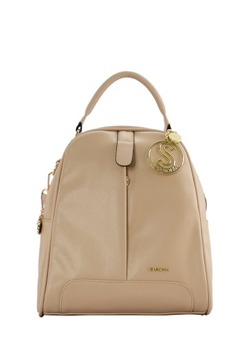 SEMBONIA beige SEMBONIA Synthetic Leather Backpack (Beige) SE598AC0S8PHMY_1