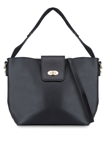 Perllini&Mel black Grainy Faux Leather Single Handle Bag PE444AC83XJOMY_1