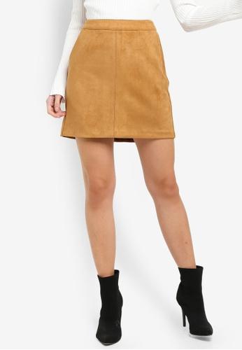 Vero Moda brown Donnadina Faux Suede Short Skirt 85A11AA629CCD4GS_1