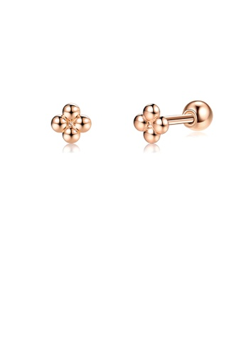 Glamorousky silver 925 Sterling Silver Plated Rose Gold Simple Fashion Geometric Flower Stud Earrings DEB30ACC1A94B5GS_1