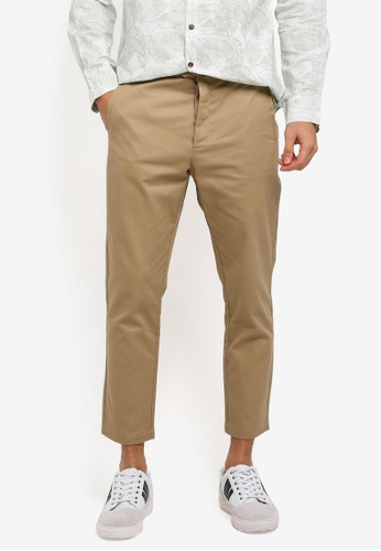 ZALORA brown Cotton Button Fly Trousers 1B606AA7F5BC96GS_1
