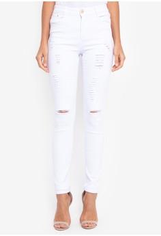 白色修身彈力破洞牛仔褲