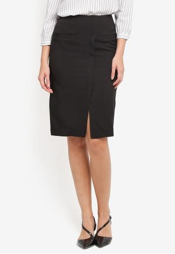 ZALORA black Centre Split Hem Skirt 805FBAA9E4883DGS_1