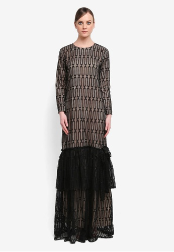 Kree for ZALORA black Relyssa Tiered Lace Dress KR498AA0STG7MY_1