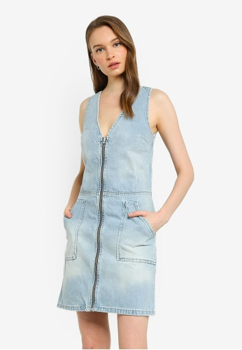 SUPERDRY blue Denim Zipthrough Dress C5405AA07D4019GS_1
