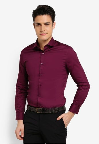 G2000 red Dot Textured Long Sleeve Shirt 08662AAAF183BDGS_1