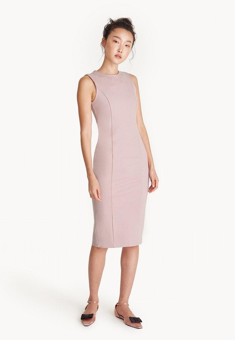Pomelo Midi Neck High Pink Pink Dress Sleeveless w4X4PgqxB