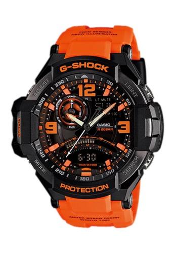 CASIO orange Casio G-Shock Gravitymaster Black and Orange Resin Watch B3565AC295F7EDGS_1