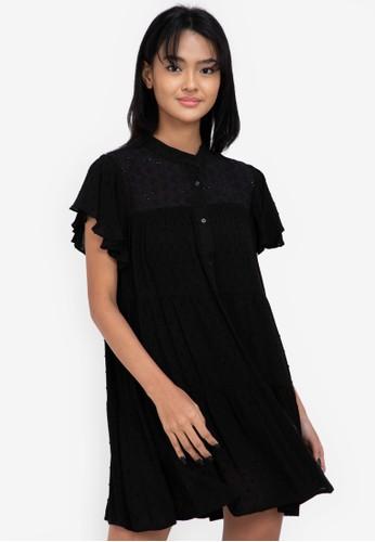 ZALORA BASICS black Eyelet Shirt Dress 02509AA30BB5D9GS_1