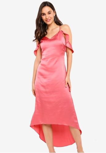 Jual Zalora Evening Cold Shoulder Hi Low Dress Original Zalora Indonesia