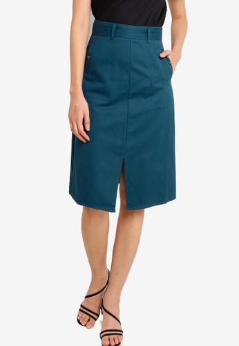 ZALORA BASICS green Front Slit A Line Skirt 6750EAA5AC8C42GS_1