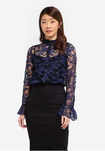 Dorothy Perkins navy Navy Lace Shirt A9330AA75AD932GS_1