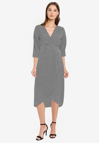 ZALORA WORK black and multi Wrap Front Tulip Skirt Dress 994BFAA881FD7BGS_1