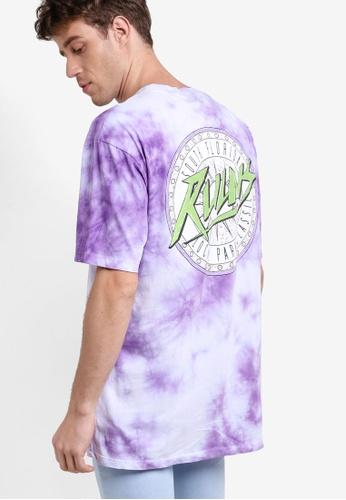 Topman purple Purple Tie Dye Oversized T-Shirt TO413AA40VYTMY_1