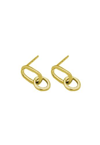 LYCKA gold LDR1217 S925 Silver Chain Shape Stud Earrings 3BB0BAC1DBCF51GS_1