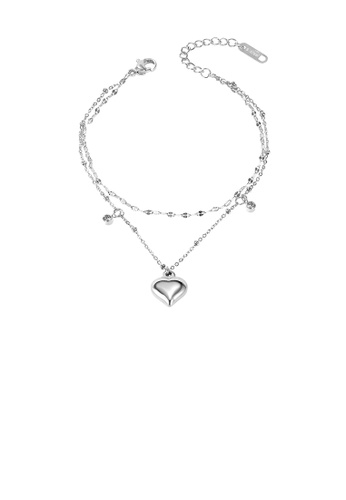 Glamorousky white Simple and Romantic Heart-shaped Double-layer 316L Stainless Steel Anklet with Cubic Zirconia 45271ACE81A95DGS_1