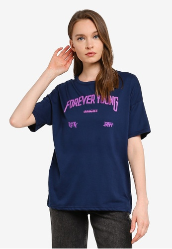 UniqTee blue Forever Young Short Sleeve Tee F8E15AA3239140GS_1
