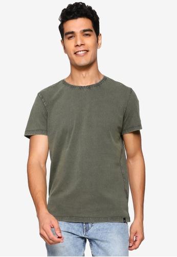 BLEND green Rib Trim Collar T-Shirt 1A083AABF37CB0GS_1