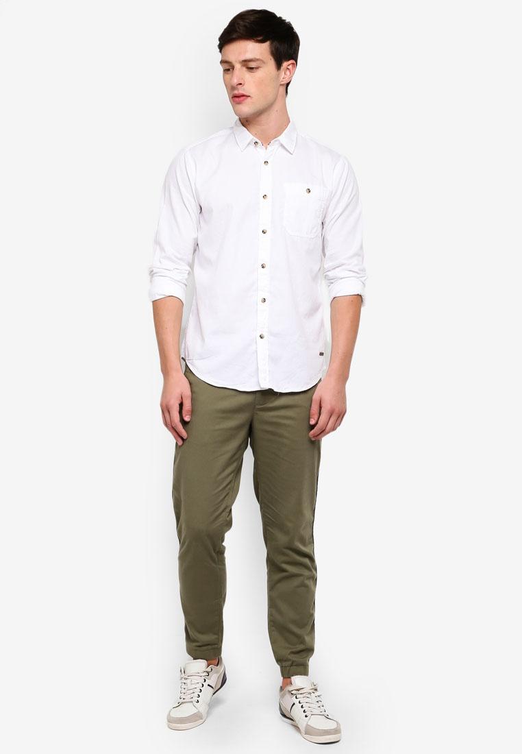 ESPRIT Shirt White Woven Sleeve Long 1Zqx6tT
