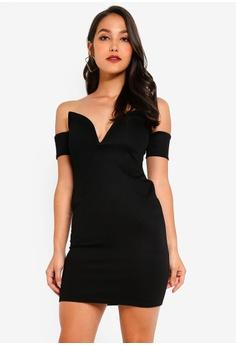 75abdfa6f9a MISSGUIDED black Bardot V Bar Bodycon Mini Dress B3576AA7CE9DEDGS 1