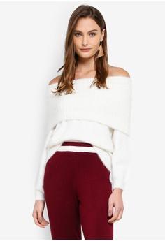53330e1fdf96 Miss Selfridge white Fluffy Yarn Bardot Knitted Jumper 19866AA49E423AGS 1