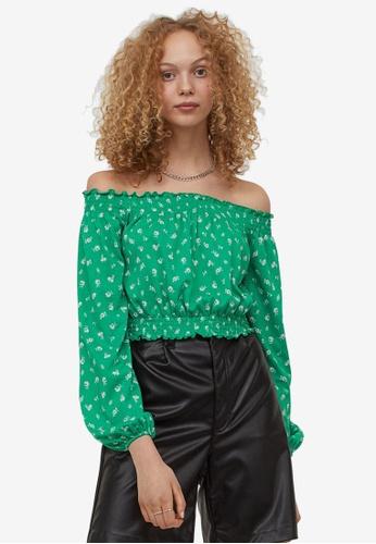 H&M green Bohemian Top 27841AA7FE6D2AGS_1