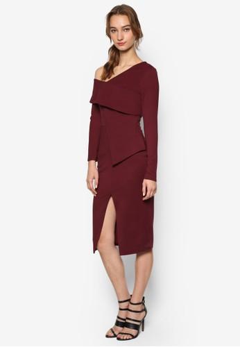 不對稱設計挖肩長esprit台灣網頁袖連身裙, 服飾, 服飾
