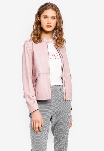 ESPRIT pink Outdoor Leather Short Jacket 39A0BAA66DE6B1GS_1