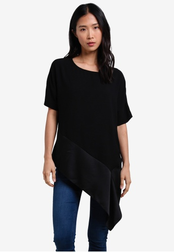 River Island black Short Sleeve Tendril Top RI009AA0S31FMY_1