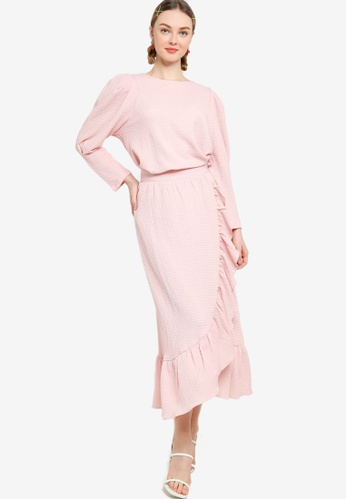 Lubna pink Puff Sleeve Top With Drape Skirt Set 41960AAE1591D9GS_1