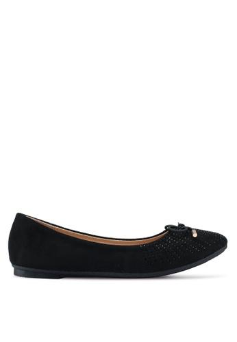 Bata 黑色 麂皮鑽飾平底鞋 FF242SH84778BFGS_1