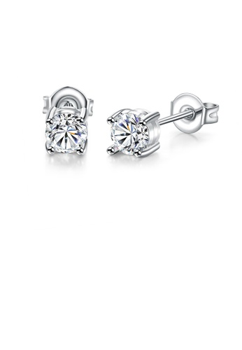 Glamorousky white Simple Bright Geometric Round Cubic Zirconia Stud Earrings E41D7AC7E98CAFGS_1