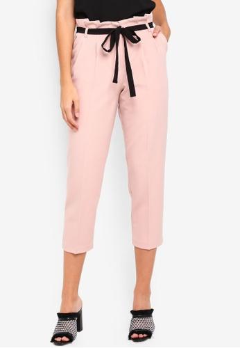 Miss Selfridge pink Petite Nude Paperbag Trousers 92475AA90DD305GS_1