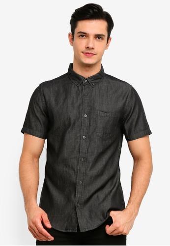 Burton Menswear London 灰色 深灰色 短袖丹寧 襯衫 FD8B1AA351C7FFGS_1