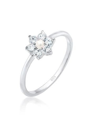 ELLI GERMANY silver Ring Pearl Flower Crystals 41414AC0B8DA12GS_1