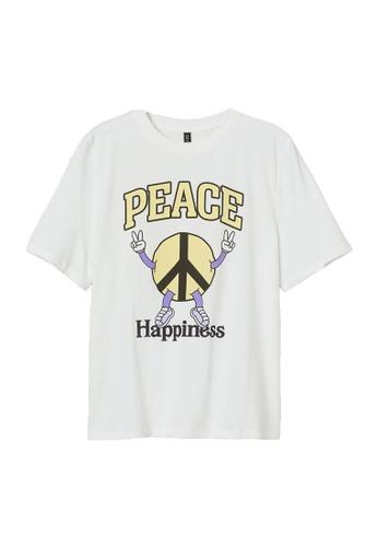 H&M white Printed T-Shirt 8CA46AA5FFD8F5GS_1