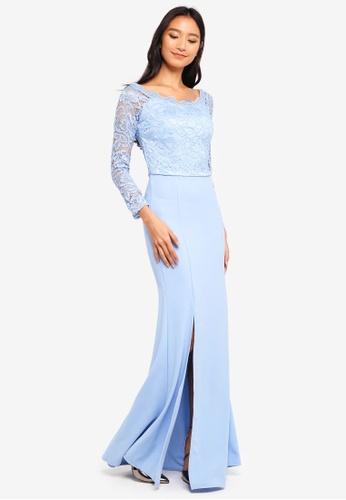 WALG blue Lace Sleeve Maxi Dress CACCBAA78E7DAFGS_1