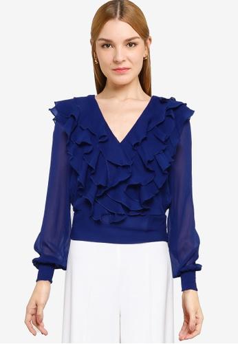 Vero Moda blue Tessa V-neck Frill Top F6B73AA6913485GS_1