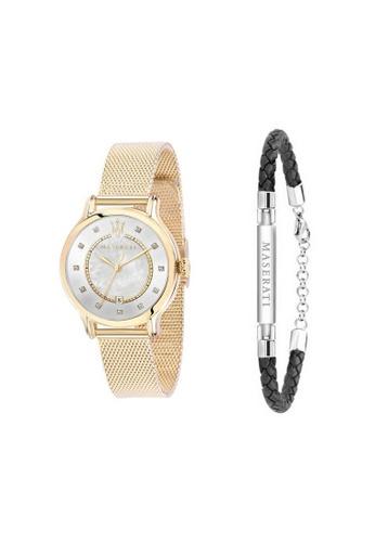Maserati gold Epoca Quartz Watch R8853118502 Yellow Gold Metal Strap + Stainless Steel Leather Bracelet JM06 1AC6AAC3485F17GS_1