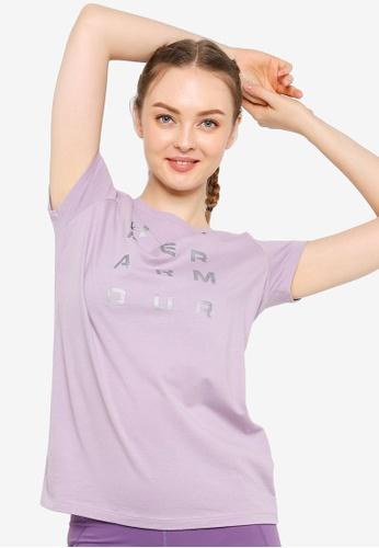 Under Armour 紫色 UA Metallic Wordmark Short Sleeve Tee B78EAAA789AA2BGS_1