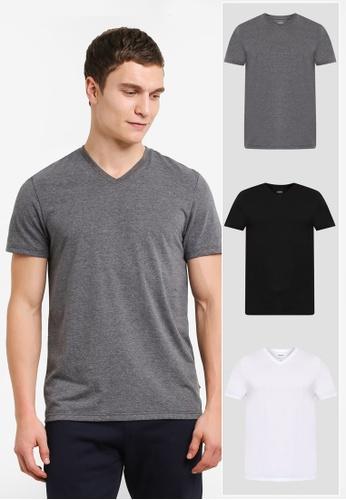 Burton Menswear London black and grey and white 3 Pack White Black And Charcoal Basic V T-Shirt BU964AA0SHO9MY_1