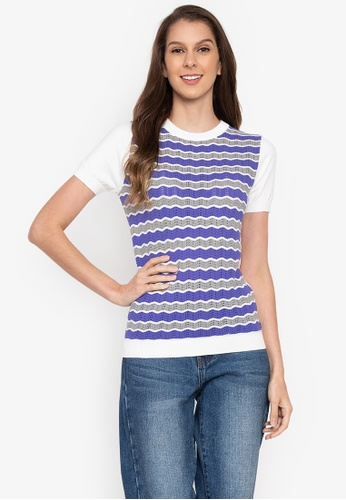 2b42900ba02b1 Kamiseta blue Zarlice Short Sleeves Round Neck Blouse With Zigzag Details  00889AA506D5A2GS 1