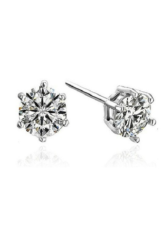 Vivere Rosse silver Classic Solitaire Platinum Plated Six Prong Stud Earrings VI014AC18ZUVMY_1
